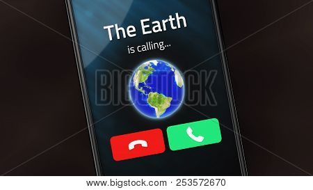 Incoming Phone Call From The Earth On A Smartphone. 3d Illustration