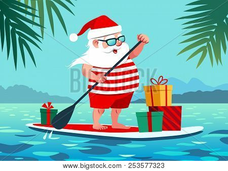 Cute Santa Claus On Paddle Board With Gifts Against Tropical Ocean Background Vector Cartoon Illustr