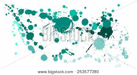 Watercolor Paint Stains Grunge Background Vector. Colorful Ink Splatter, Spray Blots, Mud Spot Eleme