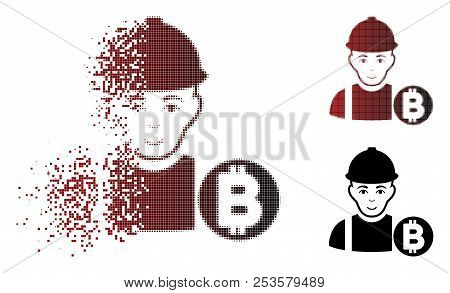 Bitcoin Miner Icon With Face In Fractured, Pixelated Halftone And Undamaged Whole Variants. Points A