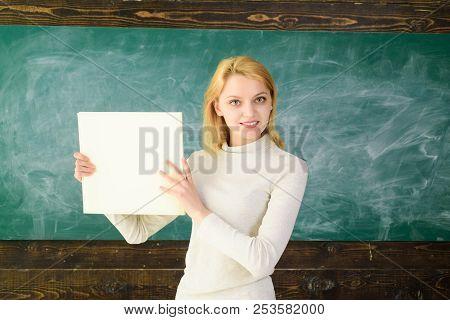 School. Education. Job. Teacher With Folder. Educational Theme. Teacher In Classroom. Portrait Of Fe