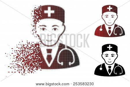 Physician Icon With Face In Sparkle, Pixelated Halftone And Undamaged Solid Variants. Points Are Arr