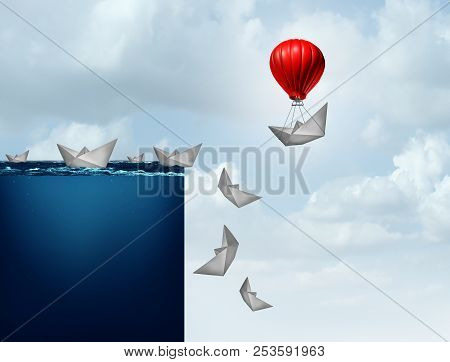 Business insurance plan and corporate liability protection concept as a paper boat lifted away from doom with 3D illustration elements. poster
