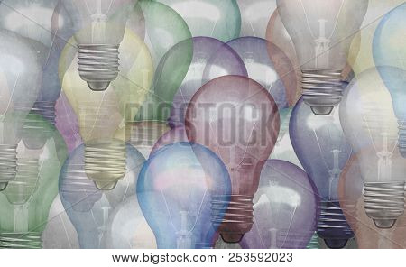 Abstract Idea Concept As A Background With Grunge Texture Lightbulb Objects As A Business Brainstorm