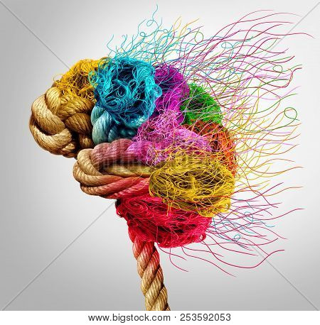 Brainstorming And Brainstorm Concept Or Psychology Symbol As A Creative Human Mind Made Of Rope And
