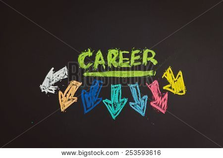 Career Path And Work Opportunities Concept, Colorful Handwriting Chalk The Word Career With Uncertai