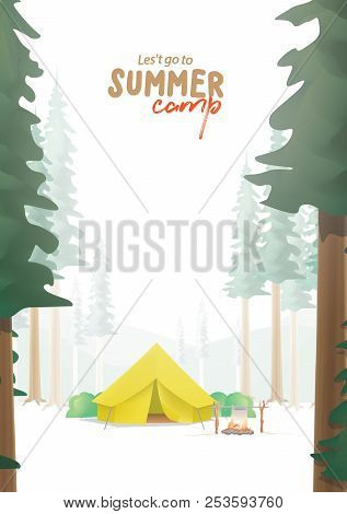 Summer Camp A4 Poster That The Yellow Camp Is Middle In The Forest Illustration Vector. Camping Conc