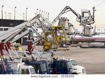 Deicing Equipment Ready At Airport