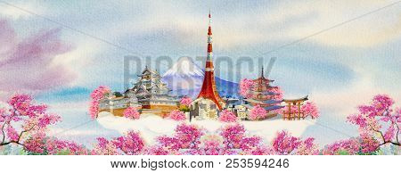Travel Of Japan And Sights. Famous Landmarks Of The World Grouped Together. Watercolor Hand Drawn Pa