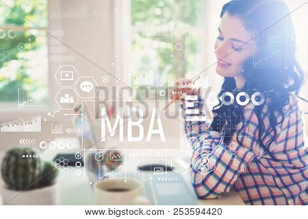 MBA with young woman holding a pencil poster