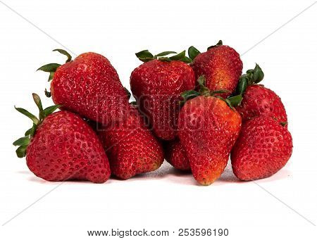Large Bunch Of Strawberries On White Background