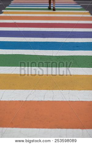 Rainbow Colored Crosswalk. Person Crosses The Street In A Colorful Zebra. Copy Space For Your Text