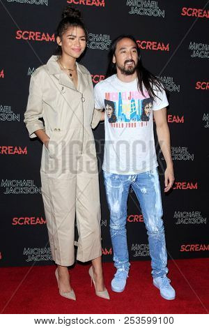 LOS ANGELES - OCT 24: Zendaya, Steve Aoki at Michael Jackson Scream Halloween Takeover at TCL Chinese Theatre IMAX on October 24, 2017 in Los Angeles, California