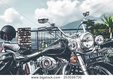 Bali, Indonesia - August 12, 2018: Harley Davidson Motorcycles On The Parking Close To Batur Volcano