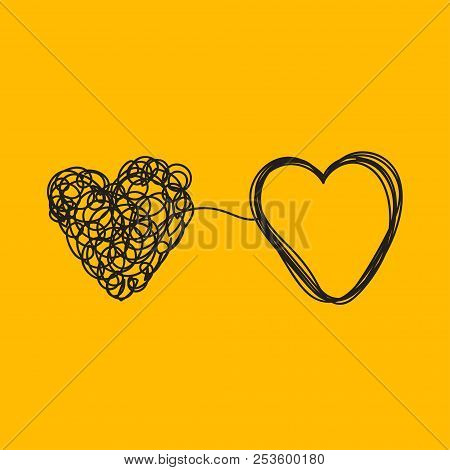Entangled Heart, Coaching Relationship, Icon Of Psychologist, Therapist, Love And Relationships. Vec