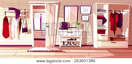 Vector Cartoon Hallway With Open White Door. Interior Background Of House. Furniture - Closet With S