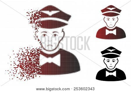 Sadly Airline Steward Icon In Fractured, Pixelated Halftone And Undamaged Solid Variants. Fragments