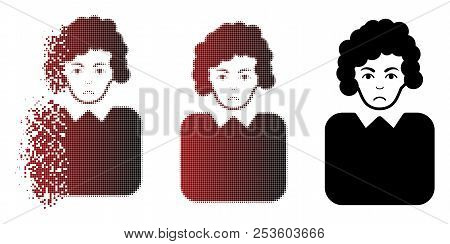 Pitiful Bureaucrat Lady Icon In Sparkle, Pixelated Halftone And Undamaged Whole Variants. Pixels Are