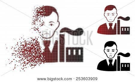 Unhappy Capitalist Oligarch Icon In Fractured, Dotted Halftone And Undamaged Entire Versions. Elemen