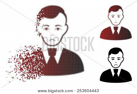 Pitiful Clerk Guy Icon In Dissolved, Dotted Halftone And Undamaged Entire Versions. Particles Are Or