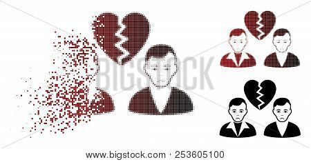 Sad Divorce Gays Icon In Sparkle, Dotted Halftone And Undamaged Solid Variants. Pieces Are Organized