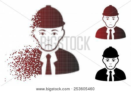 Unhappy Engineer Icon In Fractured, Dotted Halftone And Undamaged Whole Variants. Cells Are Organize