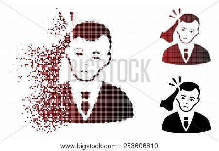 Unhappy Kickboxer Victim Icon In Dispersed, Dotted Halftone And Undamaged Entire Versions. Fragments
