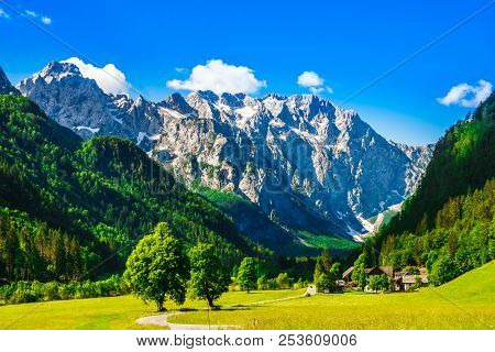 View On Mountains By Logar Valley In The Slovenian Alps