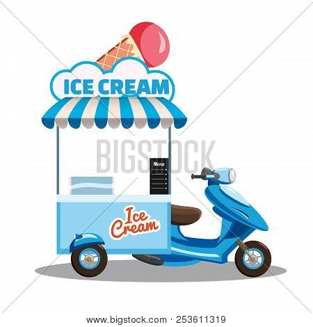 Ice Cream Street Food Cart, Scooter, Moped, Truck, With Fresh Cones, Sticks, Buckets, Sherbet, Rolle