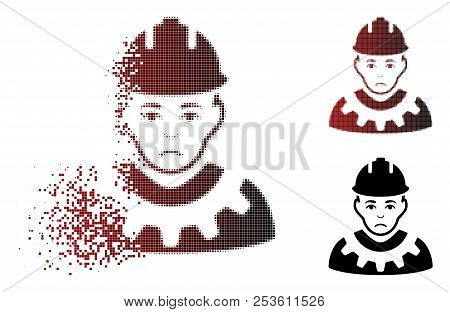 Sadly Serviceman Icon In Dispersed, Dotted Halftone And Undamaged Solid Variants. Points Are Grouped