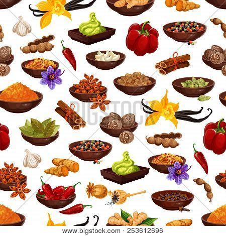 Spice And Herb Seamless Pattern Background With Aroma Food Ingredient. Clove, Anise Star And Pepper,