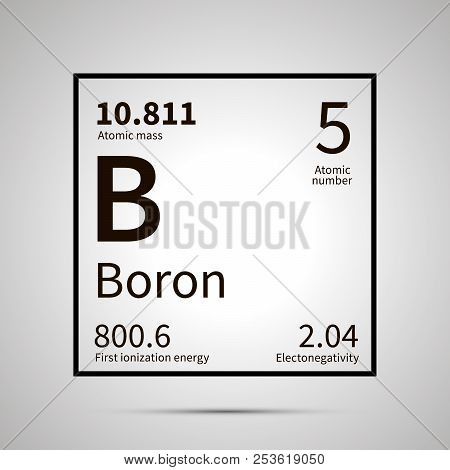 Boron chemical element with first ionization energy, atomic mass and electronegativity values , simple black icon with shadow poster