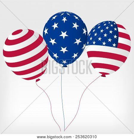 Helium Balls With Symbols Of The United States Of America