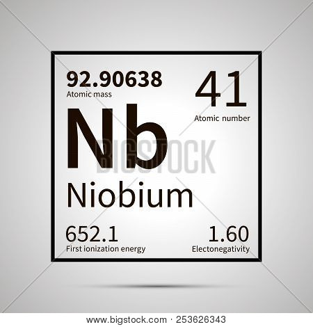 Niobium chemical element with first ionization energy, atomic mass and electronegativity values , simple black icon with shadow poster