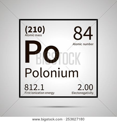 Polonium chemical element with first ionization energy, atomic mass and electronegativity values , simple black icon with shadow poster