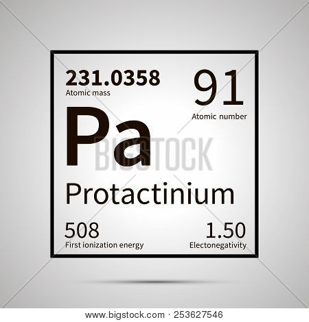 Protactinium chemical element with first ionization energy, atomic mass and electronegativity values , simple black icon with shadow poster