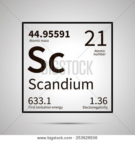 Scandium chemical element with first ionization energy, atomic mass and electronegativity values , simple black icon with shadow poster