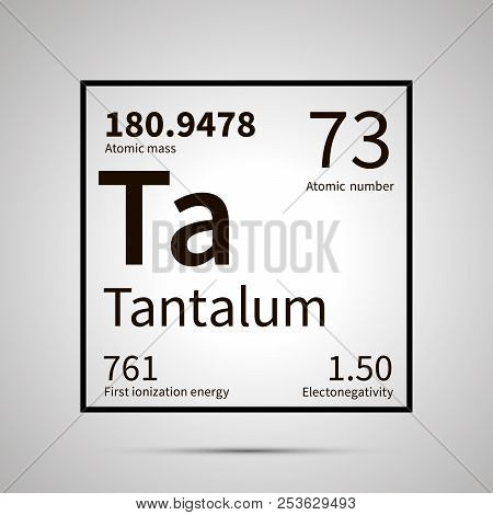 Tantalum Chemical Element With First Ionization Energy, Atomic Mass And Electronegativity Values , S
