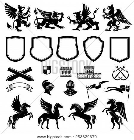 Heraldic Animals And Design Elements For Coat Or Arms And Insignia Template. Medieval Shield, Knight