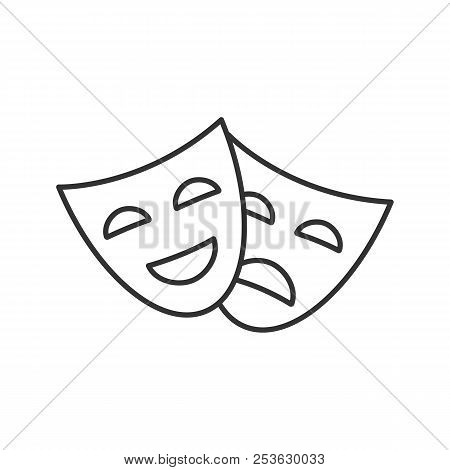 Comedy And Tragedy Masks Linear Icon. Thin Line Illustration. Theater. Drama. Contour Symbol. Vector