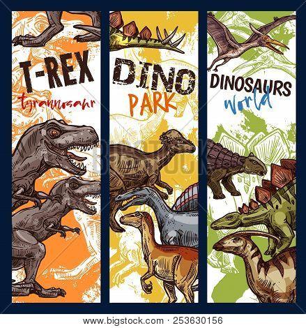 Dinosaur Adventure Park Banner With Jurassic Animal. Dino Monster Sketch Of Tyrannosaurus Rex, Stego