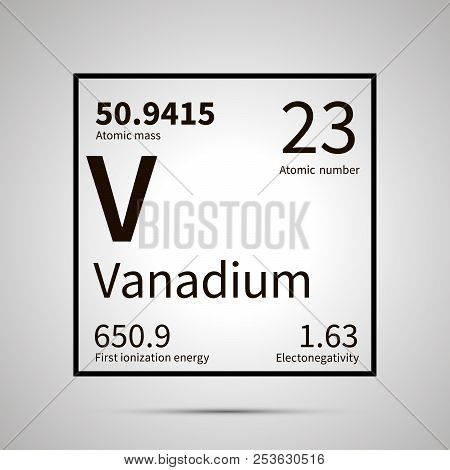 Vanadium chemical element with first ionization energy, atomic mass and electronegativity values , simple black icon with shadow poster