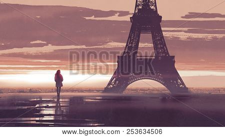 Alone In Paris, Woman Looking At The Eiffel Tower At Early Morning, Digital Art Style, Illustration