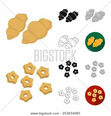Types Of Pasta Cartoon, Black, Flat, Monochrome, Outline Icons In Set Collection For Design. Figured