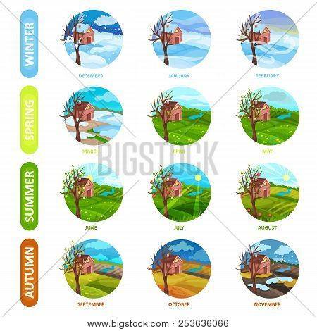 Flat Vector Set Of 12 Months Of The Year. Winter, Spring, Summer And Autumn Season. Nature Landscape