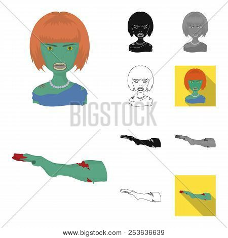 Zombies And Attributes Cartoon, Black, Flat, Monochrome, Outline Icons In Set Collection For Design.