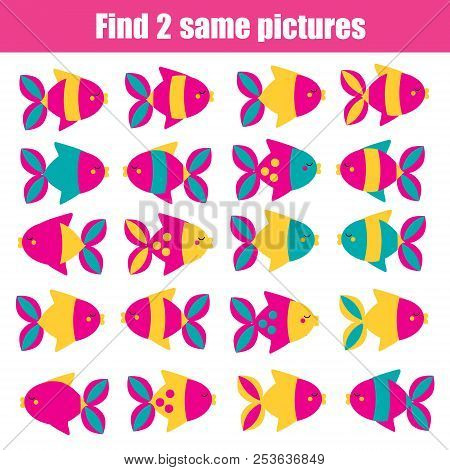 Find The Same Pictures Children Educational Game. Find Two Identical Fishes.