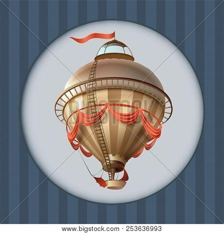 Balloon Retro Blimp Ship With Flag Greeting Card Frame