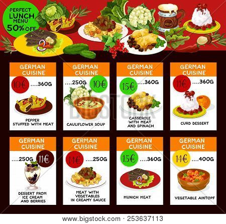 German Cuisine Restaurant Menu Cards With Special Offer For Lunch Dish. Meat Casserole, Pasta And St
