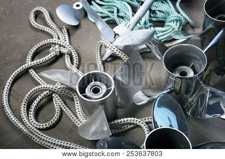 Boat Propellerl,anchor, Gears And  Ropes